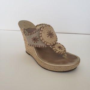 Jack Rogers canvas & jute wedge shoes